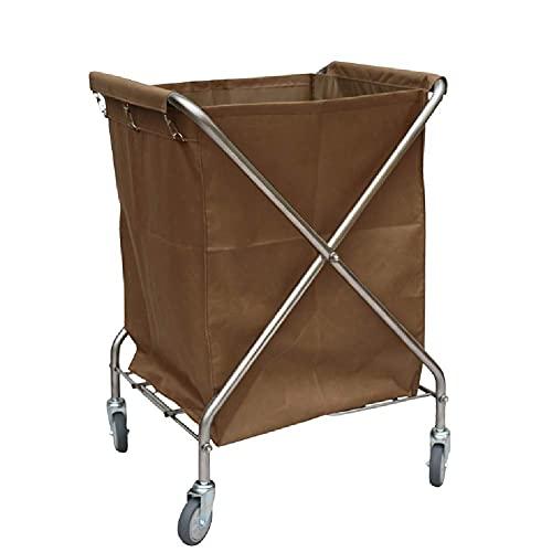 Tcbz Carros, Cesto de lavandería, Carro clasificador de cesto de lavandería Grueso de Acero Inoxidable con Ruedas, Carro Plegable para recolección de Limpieza de Servicio de Hotel, Beige