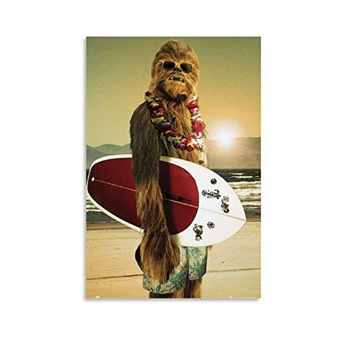 GSSD Chewbacca Surf-Poster, dekoratives Gemälde, Leinwand, Wandkunst, Wohnzimmer, Poster, Schlafzimmer, Gemälde, 40 x 60 cm