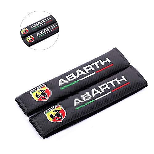 L&U Carbon-Faser-Stickerei-Auto-Sicherheitsgurt-Abdeckungen Leder Schulterpolster,for Abarth