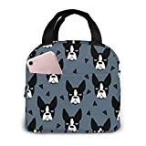Portable Lunch Tote Bag Cute Boston Terrier Dog Lunch Bag Insulated Cooler Thermal Reusable Bag Lunch Box Handbag Bags for Women/Picnic/Boating/Beach/Fishing/Work