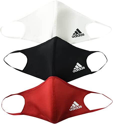 adidas Paquete de 3 fundas de cara estándar, multicolor, negro/blanco/rojo...