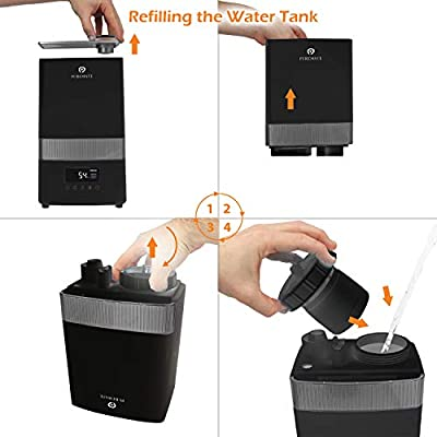 PureMate 4.5L Digital Ultrasonic Cool Mist Humidifier with Ioniser Built in Hygrostat sensor automatically maintains Humidity, Aroma Diffuser Tray &