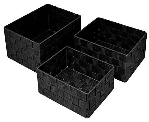 Lashuma Rechteckige Aufbewahrungsboxen 3er Set, Größen: 24 x 18 x 14 cm, 21 x 16 x 12 cm und 19 x 14 x 10 cm, Farbe: Schwarz