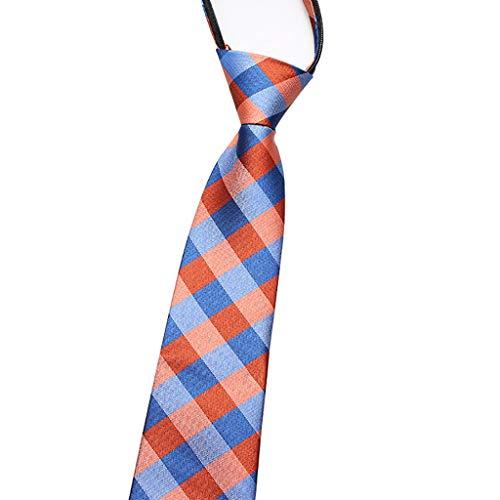 Dongxiao Corbatas con Cremallera Polister y Algodn Lazo Tejido Ajustable Cremallera Corbatas para Hombre y Nios (Color : Orange)