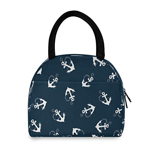KUWT Beach Nautical Sea Anchor Insulated Lunch Bags for Men/Women Reusable Lunch Tote Cooler Bag Thermal Lunch Box for Work Office School Picnic