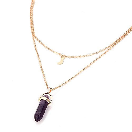 Allence - Collar para mujer con colgante de cristal irregular de varias capas morado Talla única