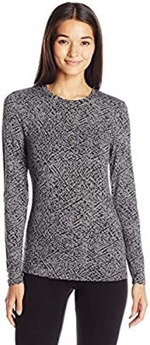 Cuddl Duds Women s Softwear with Stretch Long Sleeve Crew Neck Top Grey Print Large product image