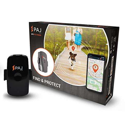 PAJ GPS Pet Finder Tracker Mini per cani/gatti. Impermeabile, 2 g. ca. durata della batt. (3 g. in mod. standby) gps live