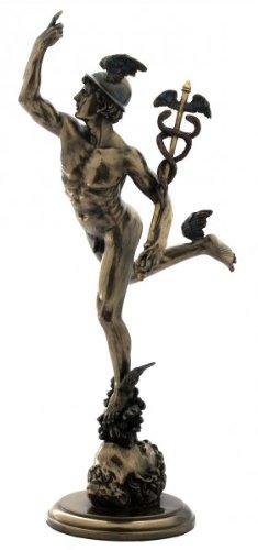 Griechischer Gott Hermes Götterbote fliegt mit Stab Figur bronziert