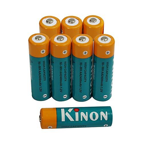 Kinon Pilas Recargables AA Ni-Mh 1.2V 2400mAh (8 Piezas) para cámara Digital Controlador de Juegos Afeitadora eléctrica Cepillo de Dientes Linterna