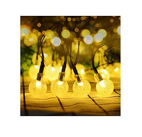 Luces solares para jardín al aire libre, luces solares al aire libre, alimentación por USB, impermeable 50 LED bola de cristal luz decorativa (blanco cálido01, 30 LED)