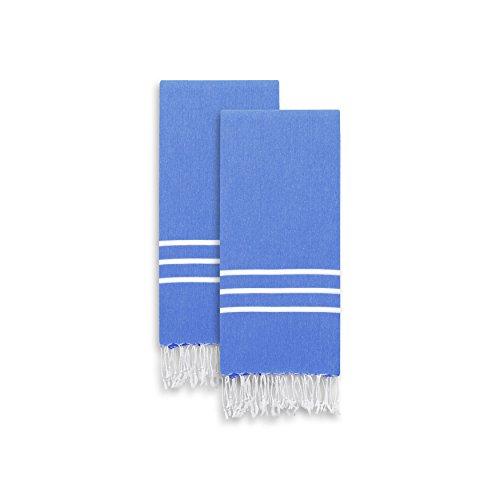 Linum Home Textiles Alara Turkish Pestemal Hand/Guest Towels, Royal Blue/White Stripes
