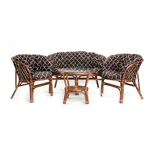 Ragnarök Juego de Muebles de jardín de ratán – Muebles de balcón – Muebles de jardín – Juego de Mesa – Juego de Muebles de balcón (Kissen Gemustert)