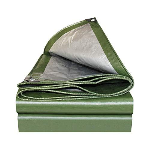 Lona Verde/Plateada Liviana, Lona de Plástico Resistente Al Agua de 180G/M2 con Ojales, Cubierta de Sábanas Multiusos Protegida Contra Rayos UV for Piscina de Automóviles (Size : 2mx2m/6ftx6ft)