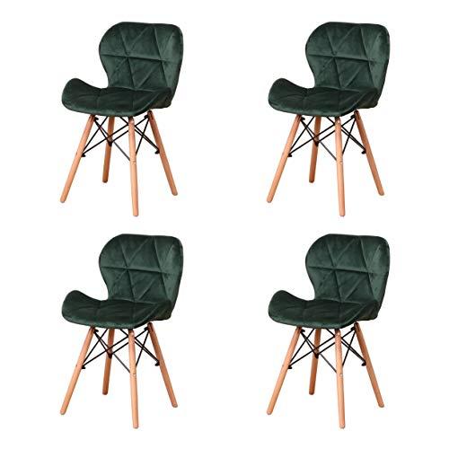 Esszimmerstühle aus Samt, Massivholzbeine und Stuhlrahmen, ergonomische Rückenlehne, Schaumstoff-Füllung, schlicht und edel, Wohnzimmer, Küche, Schlafzimmer, 4er-Set (dunkelgrün)