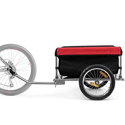 Goplus Rimorchio per Bici, Carrello per Bicicletta in Acciaio Pieghevole con Copertura di Tessuto Oxford, Cargo Bicicletta con Ruote 40 cm per Fare Le Spese Trasportare Bagaglio