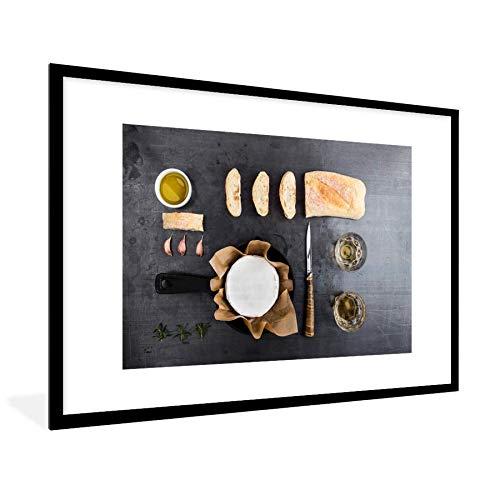 Knolling - verzameling van etenswaren met camembert en brood 120x80 cm