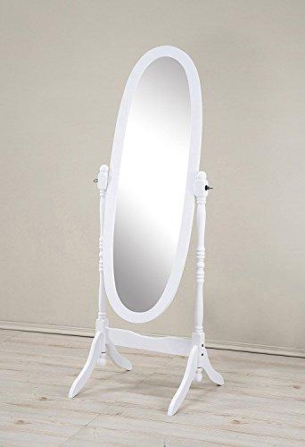 Mirror MIRROR7028WHITE Cheval Floor Oval White