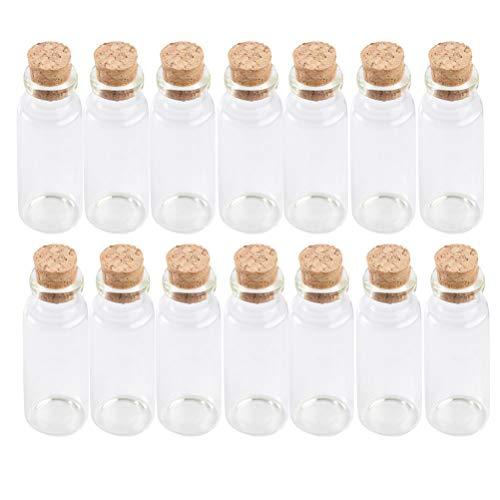 25 Mini bottigliette in Vetro 18x40mm con Tappo in Sughero Legno, Mini boccette di Vetro con Tappo in Sughero, Piccola Bottiglia Bottiglie di Vetro