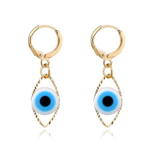 Lucky Meet 4 pares de aretes geométricos azules con ojo de diablo para mujer, aretes redondos para mujer, joyería de moda para malezas