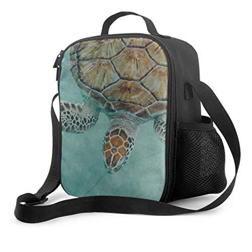 Girl Lunchboxes Sea Turtle Cancún México Turtle Preserve Childs Lunchbag con asa Correa para el hombro Bolsa de refrigerador reutilizable para hombres Mujeres...