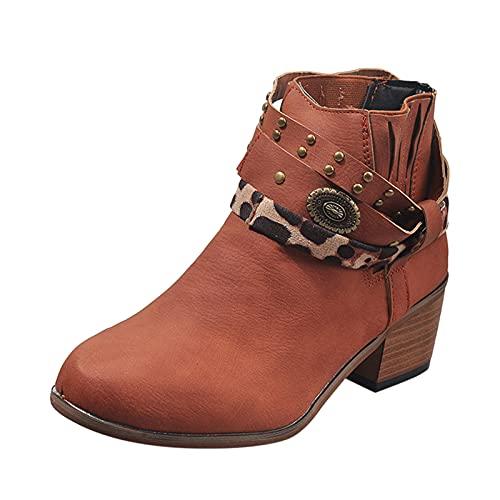 Stivaletti Donna con Tacco Bassi Boot Inverno Neve Stivali Donna Inverno Moda Tacco Squadrato Vintage Punta Rotonda Zip Up Stivaletti (41,Marrone)