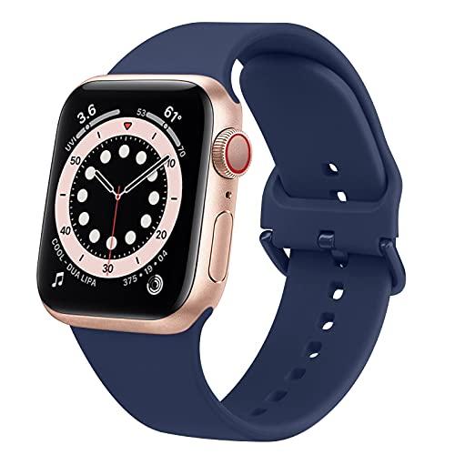AOZZ Compatible con Apple Watch Correa de 42 mm, 38 mm, 44 mm, 40 mm, correa deportiva de silicona para iWatch Series 6, Series 5, Series 4, Series 3, Series 2, Series 1, SE.