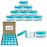 (Quantity: 50 Pieces) Beauticom 5G/5ML Round Clear Jars with TEAL Sky Blue Lids...