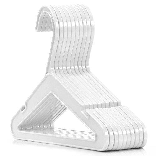 Hangerworld 50 Perchas 26cm para Niños Plástico Blanco Claro Perfil Plano Ahorra Espacio Resistente