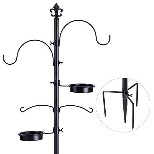 BOLITE 18014 Vogelfutterstation, Vogelfutterstation, Vogelfutterstangenständer für draußen, verbessertes Zinken-Design, schwarz