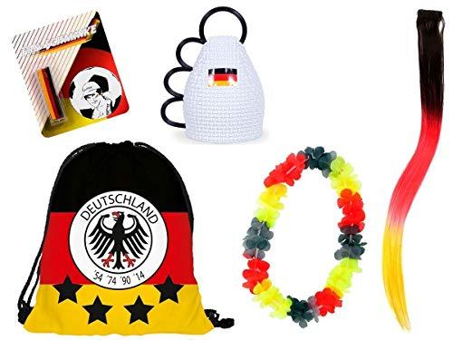 Alsino Kit Supporter Allemagne FP-28 : 5 Accessoires: Sac caxirola Collier Stick de Maquillage et Extension Cheveux idée Cadeau Femme Fille Homme garçon Fan Ambiance au Stade de Foot