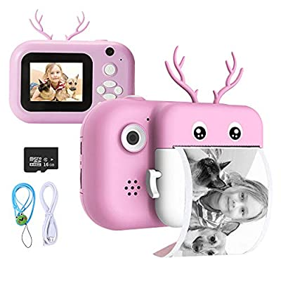 ieGeek Instant Print Camera for Kids Girls Boys Creative 24MP Digital Video Camera with Paper Film HD 1080P 2.4 Inch Color Screen Toy Selfie Mini Camera with 16GB SD Card