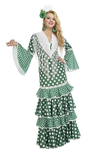 My Other Me Me-203855 Disfraz de flamenca giralda para mujer, color verde, M-L (Viving Costumes 203855)