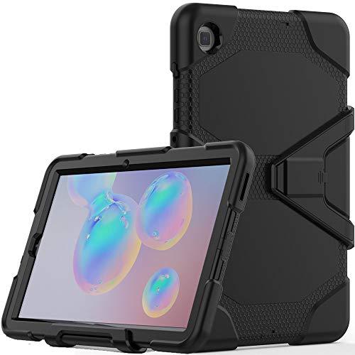 TECHGEAR G-Shock Funda Compatible con Samsung Galaxy Tab S6 Lite 10.4 (SM-P610 / SM-P615) - Funda Protectora Prueba de Choques con Soporte - Niños Escuelas Constructores Trabajadores [Negro]