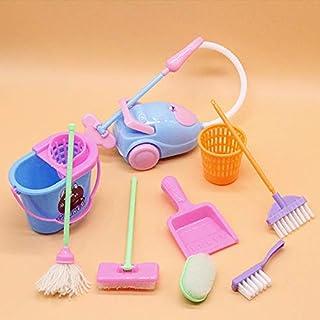 Miniature Mop Dustpan Bucket Brush Housework Cleaning Tools Set Dollhouse Garden Accessories for Barbie Dolls - Random