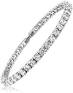 Light-Jewelry Bracciale Tennis Uomo Donna con Zirconi, Placcato Oro Bianco 18k, Design di Alta Qualità Fatto a Mano, Compr...