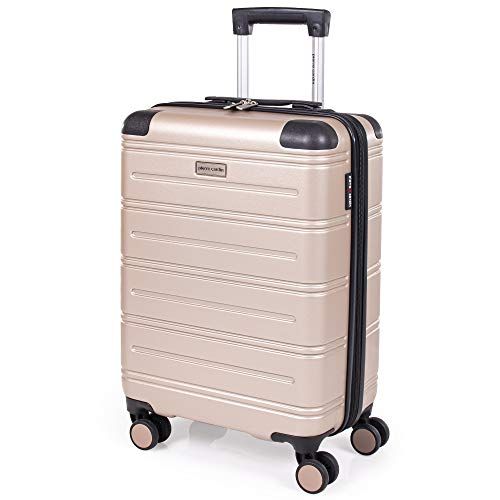 Pierre Cardin ABS Hard Shell 22 Inch Suitcase - Cabin Approved British Airways Hand Luggage with 8 Spinner Wheels | Hard Sided Fits 56x45x25 | Weighs 2.8kg Cap 38.9L Heigh 55.5cm (Small, Champagne)
