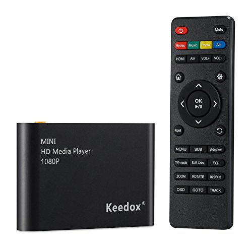 Keedox Mini Multi Media Player Upscaling Full HD 1080P HDMI/AV Out SDHC MKV AVI RMVB RM for HDTV with Remote Control
