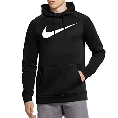 Nike Therma Men's Pullover Swoosh Training Hoodie CU6238-010 Size Medium Black White