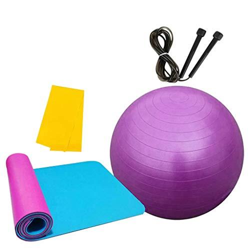 MOTOCO Pilates Gymnastikmatte, Yoga Ausrüstung Beinhaltet 1 Balance Ball + 1 Yogamatten + 1 Springseile + 1 Widerstandsband – für Gym Yoga Sport Bodenübung(180X60X1CM.Lila)