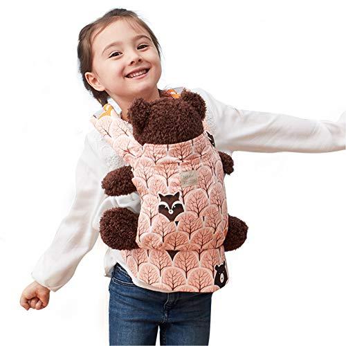 Bebamour Baby Puppentrage für Mädchen, 3 in 1 Babytrage Sling für Kinder, 100% Baumwolle Baby Doll Carrier, Orange mit Bär