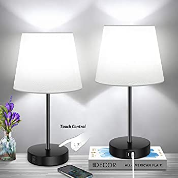 2-Pack Lakumu Dimmable Touch Control Table Lamp with 2 USB Ports