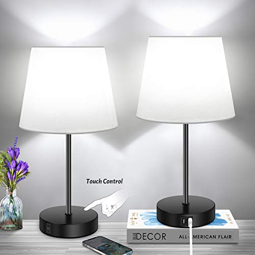 Set of 2 3Way Dimmable Touch Control Table Lamp with 2 USB Ports amp1 AC Outlet Modern Nightstand Lamps with White Fabric Shade for Reading Bedroom Living Room Office Hotel 2 A19 LED Bulbs Included