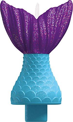 Amscan 170528 Mermaid Kerze Meerjungfrauen-Schwanz, Blau & Lila