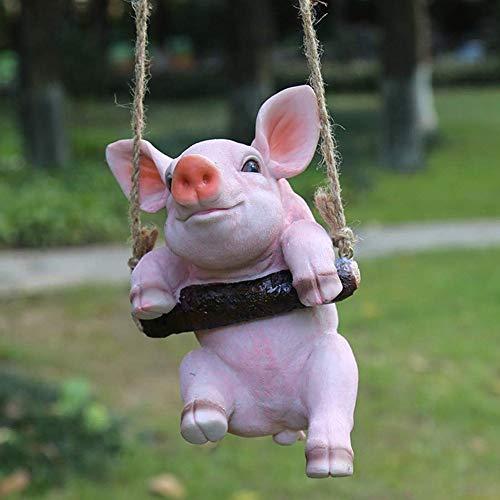 El Columpio Cerdo Colgante de Resina Estatua Animal Jardín Crafts Decoración Adornos (Color : Pink)