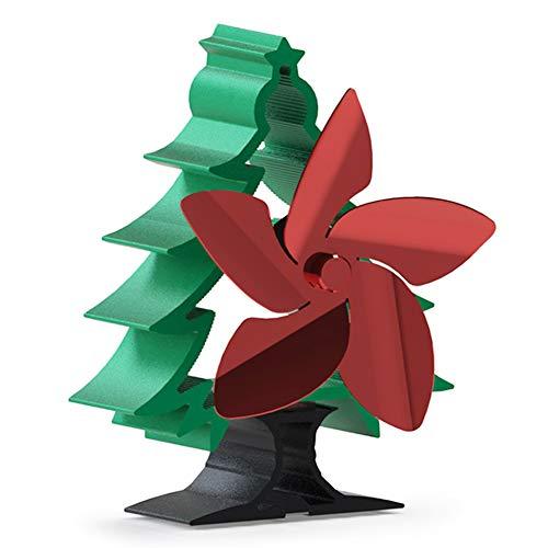 Aiboria Ventilador de estufa alimentado por calor, 5 aspas, ventilador de chimenea para el hogar, quemador de leña/chimenea, aire caliente de circulación automática, respetuoso con el medio ambiente, ventilador de estufa de madera con forma de árbol de Navidad