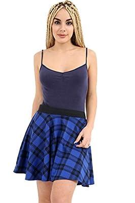 GirlzWalk Women's Elasticated Waist Tartan Check Print Ladies Casual Flared Skater Short Mini Skirt