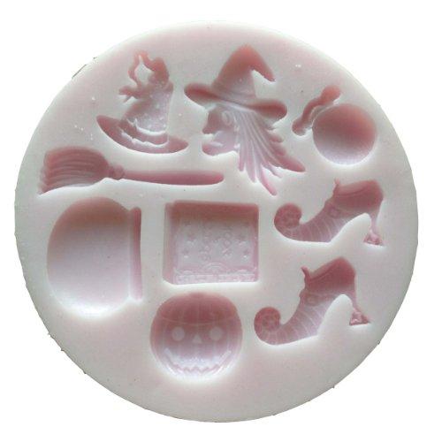 Silikonform für Backwaren, Halloween-Motive Hexe, Schuhe, Beutel, Hut, Besen, Kessel, Zauberbuch, Kürbis, 9,5x1cm, Pink