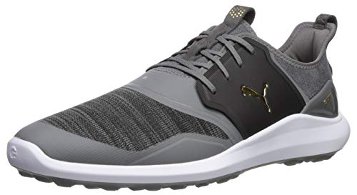 Puma Golf Men's Ignite Nxt Lace Golf Shoe, Quiet Shade-Puma Team Gold-Puma Black, 7 M US