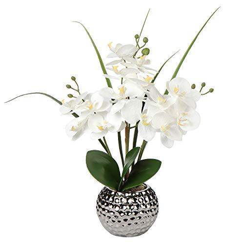 Briful Flores artificiales de orquídea de seda Phalaenopsis en maceta de cerámica plateada para boda, mesa de comedor, centro de mesa, decoración del hogar, color blanco